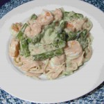 Fettuccine with Dairy Free Alfredo Sauce, Shrimp and Asparagus.jpg